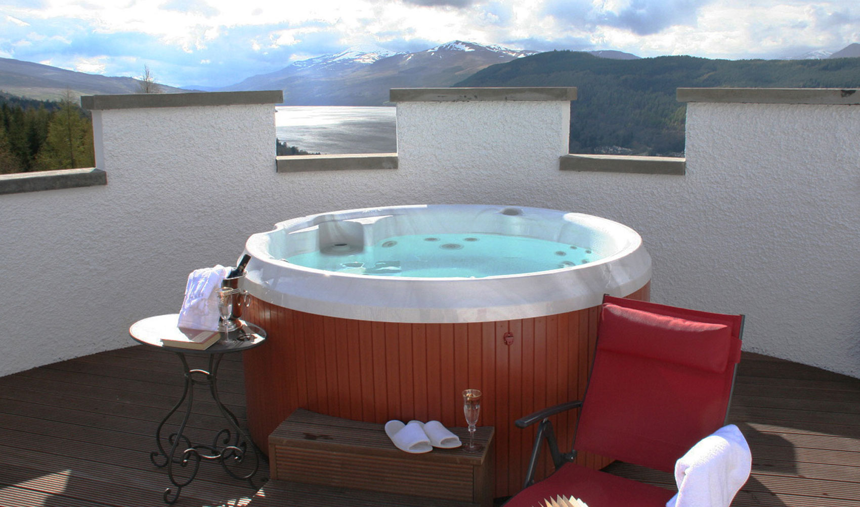 hot tub with stunning views