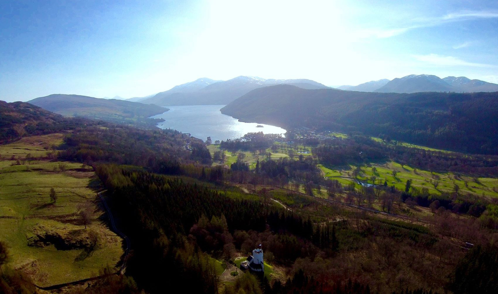 The White Tower and Loch Tay aerial view