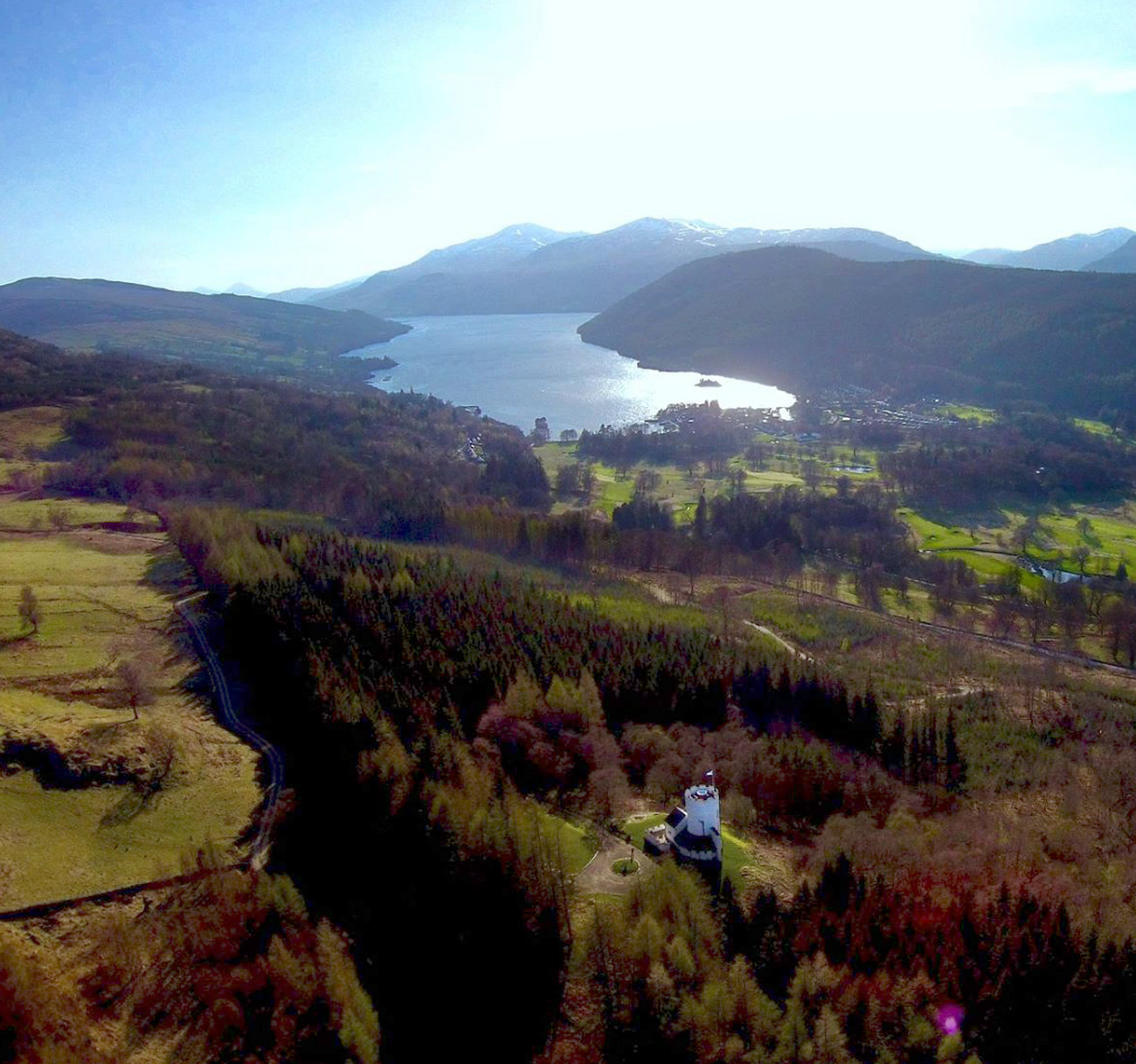Aerial views from the White tower to Loch Tay